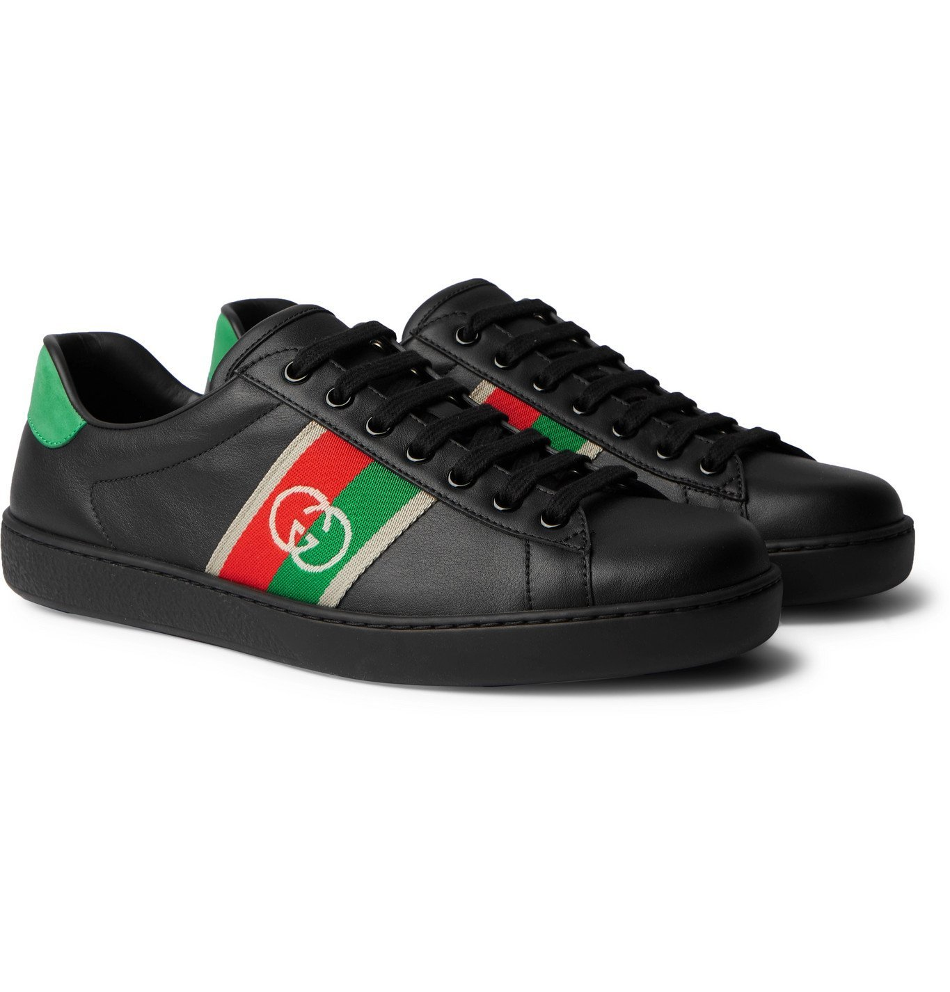 Photo: GUCCI - Ace Webbing-Trimmed Leather Sneakers - Black