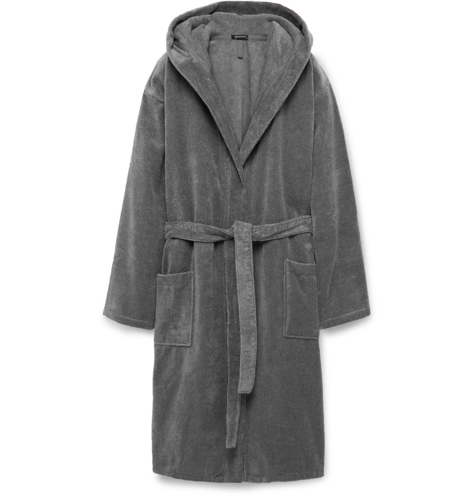 Schiesser - Cotton-Terry Hooded Robe - Gray