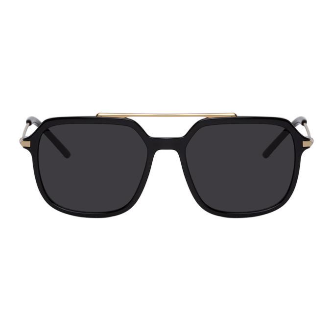 Photo: Dolce and Gabbana Black and Gold Slim Sunglasses
