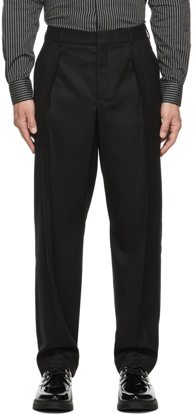 Photo: Saint Laurent Wool Flannel Wide-Leg Trousers