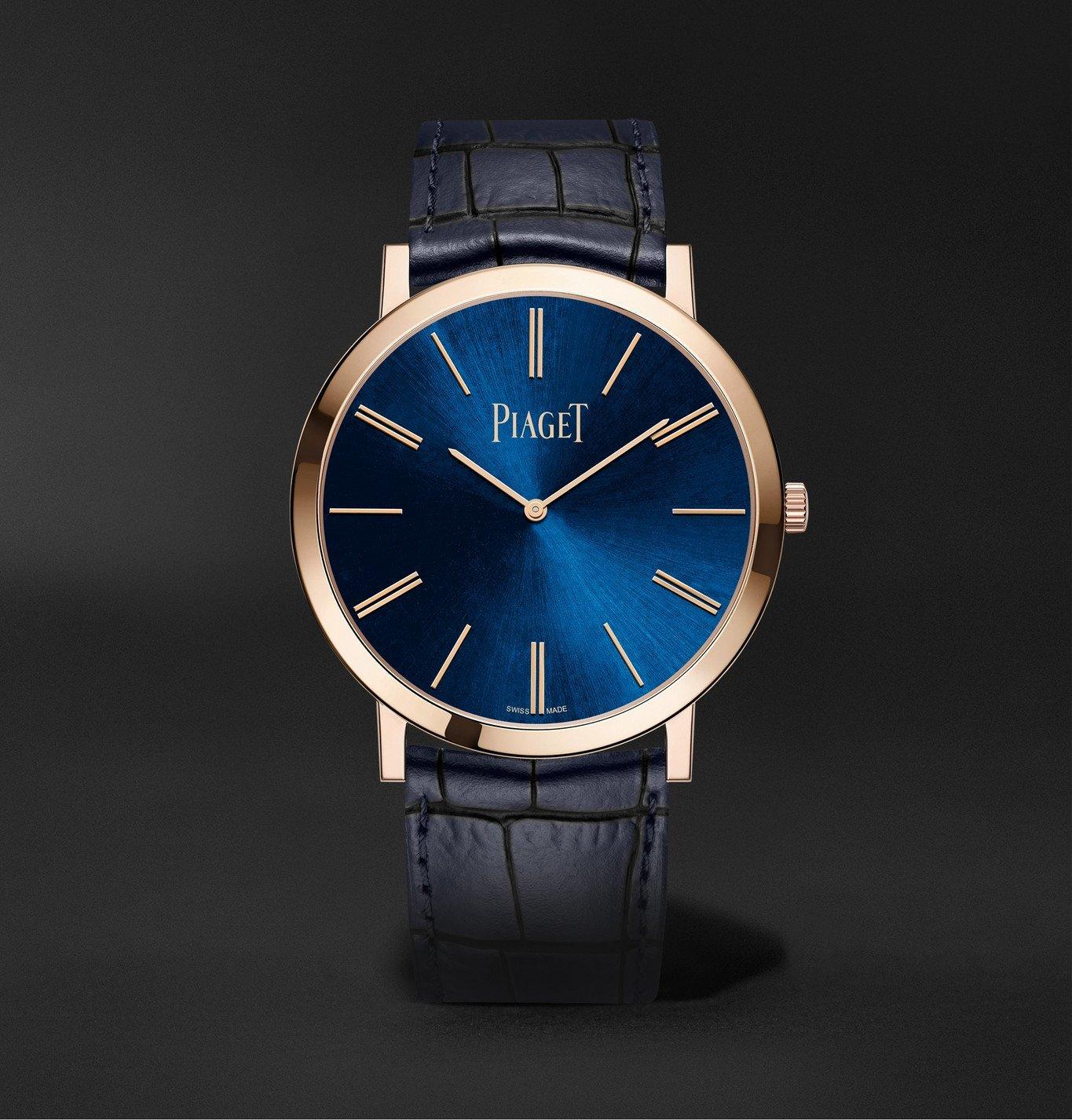 Photo: Piaget - Altiplano Hand-Wound 38mm 18-Karat Rose Gold and Alligator Watch, Ref. No. G0A45050 - Blue