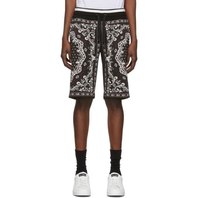 Photo: Dolce and Gabbana Black and White Bandana Bermuda Shorts