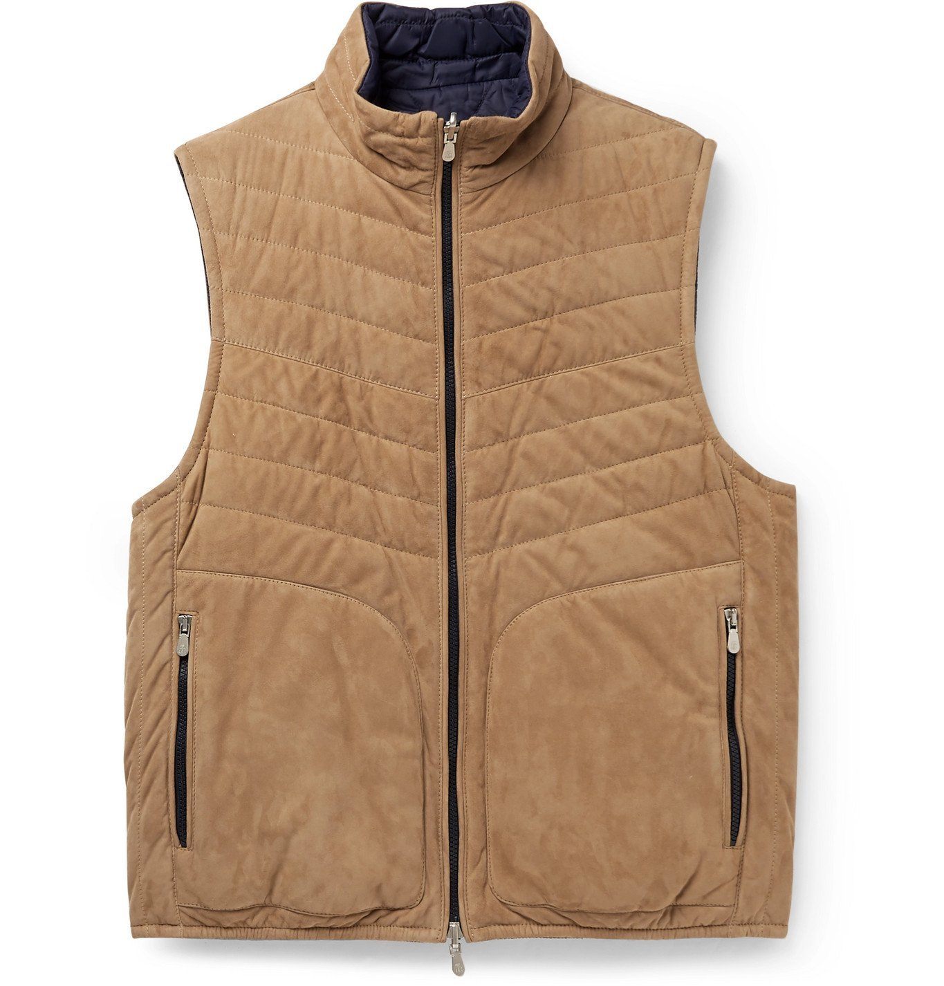 Photo: Brunello Cucinelli - Reversible Quilted Suede Down Gilet - Blue