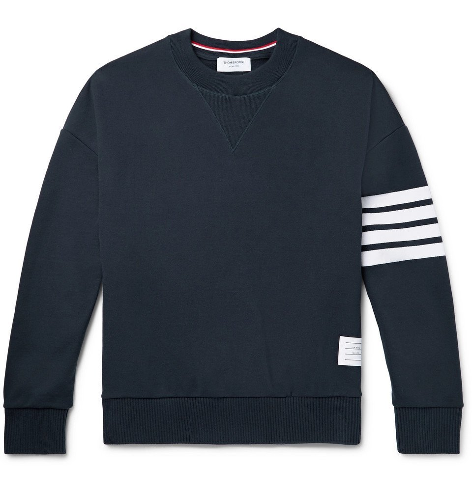 Photo: Thom Browne - Oversized Striped Loopback Cotton-Jersey Sweatshirt - Navy
