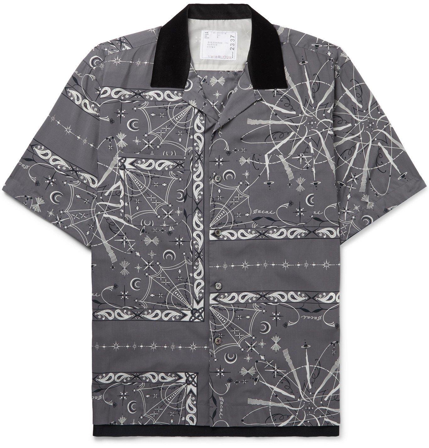 Sacai - Dr. Woo Camp-Collar Velvet-Trimmed Bandana-Print Woven Shirt - Gray