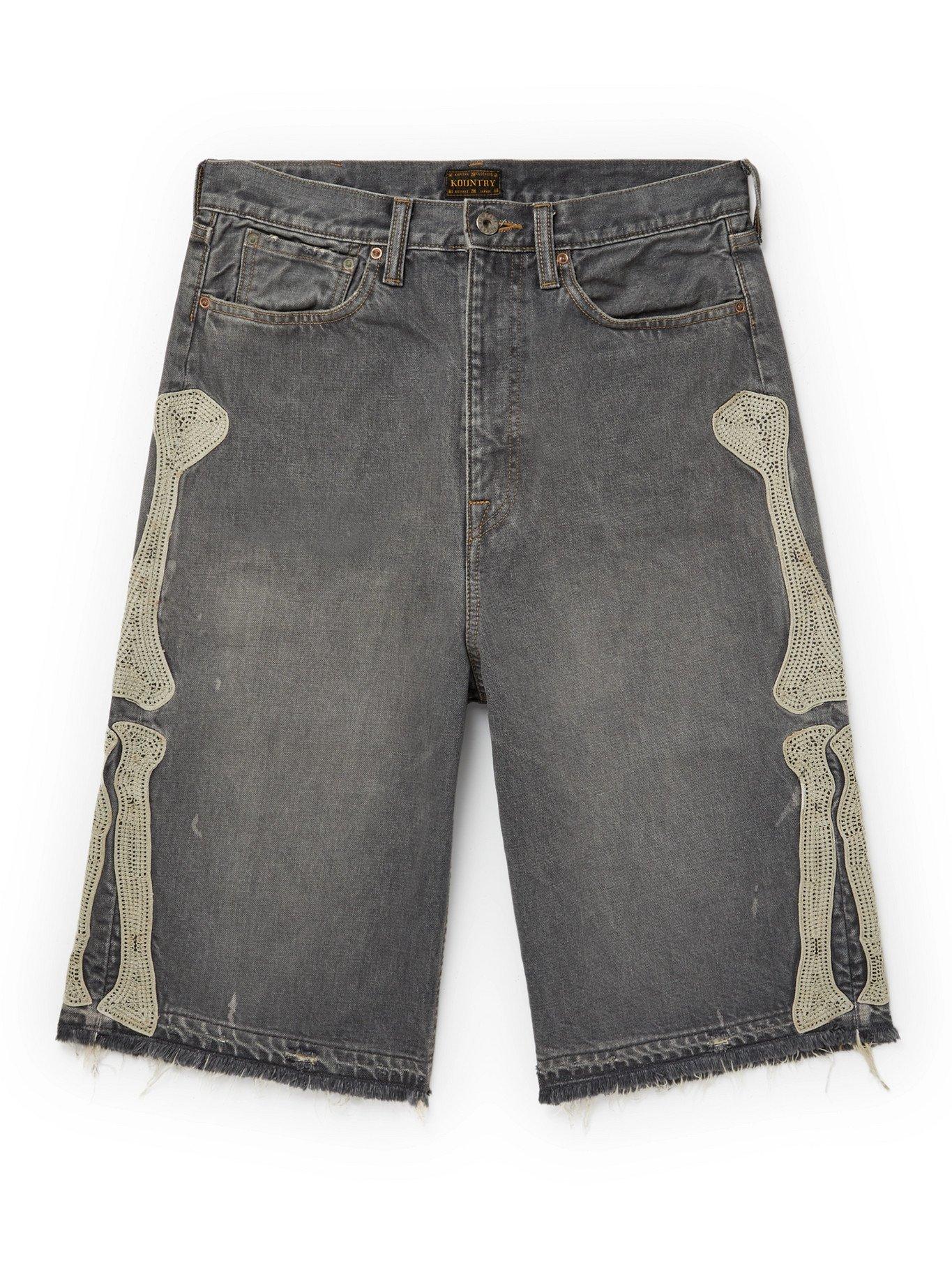 KAPITAL - Wide-Leg Distressed Appliquéd Denim Shorts - Black