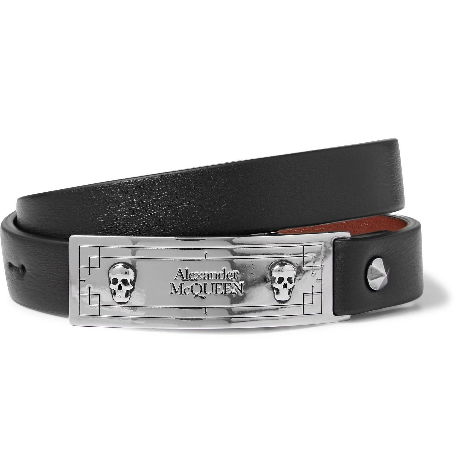 Photo: Alexander McQueen - Leather and Silver-Tone Wrap Bracelet - Black