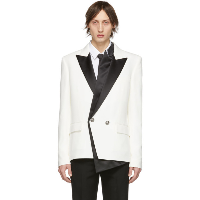 Photo: Balmain White and Black Crepe Double-Breasted Blazer