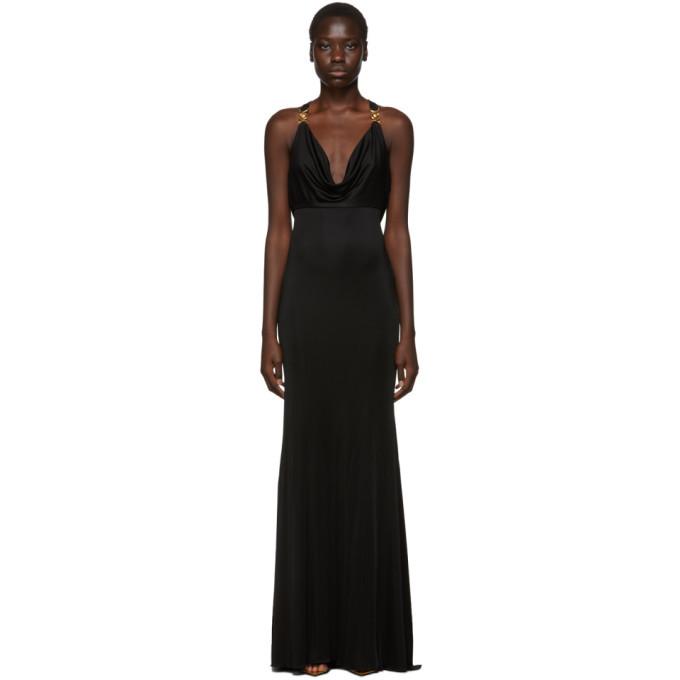 Versace Black Medusa Draped Cocktail Dress