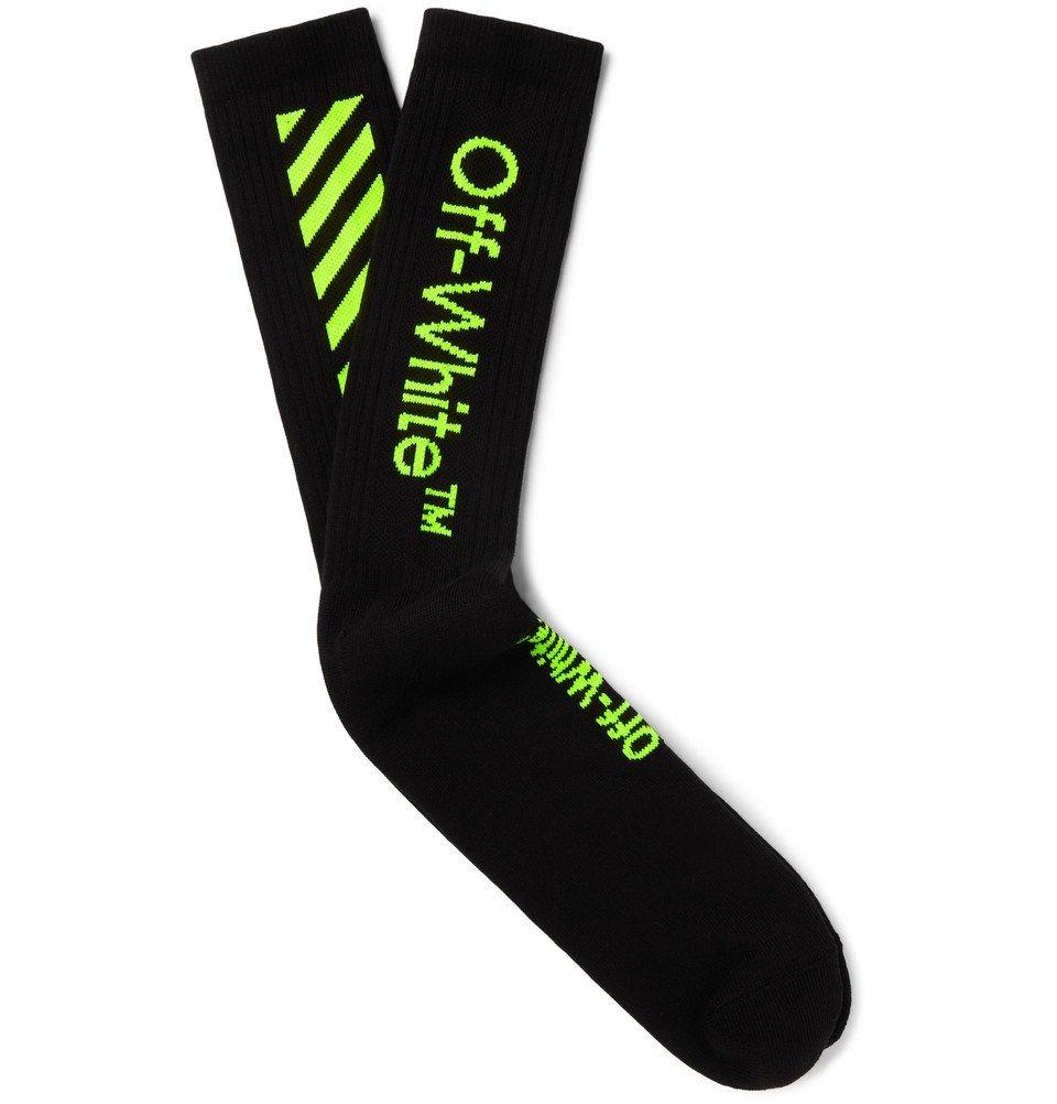 Photo: Off-White - Logo-Intarsia Stretch-Knit Socks - Black