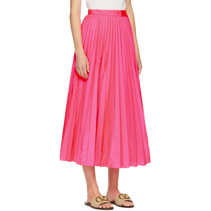 Valentino Pink Pleated Waist-Tie Skirt