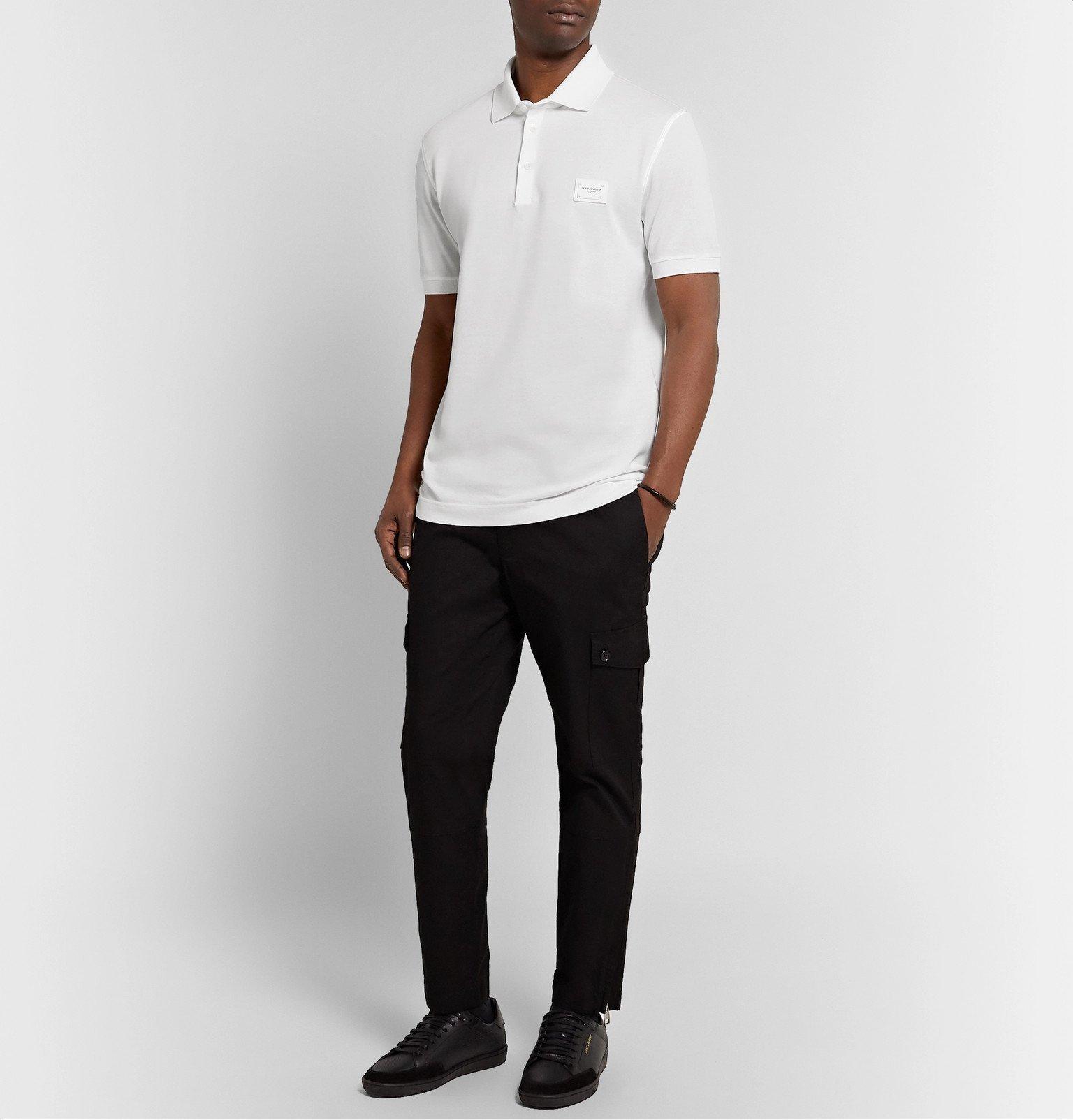 Dolce & Gabbana - Slim-Fit Logo-Appliquéd Cotton-Piqué Polo Shirt - White
