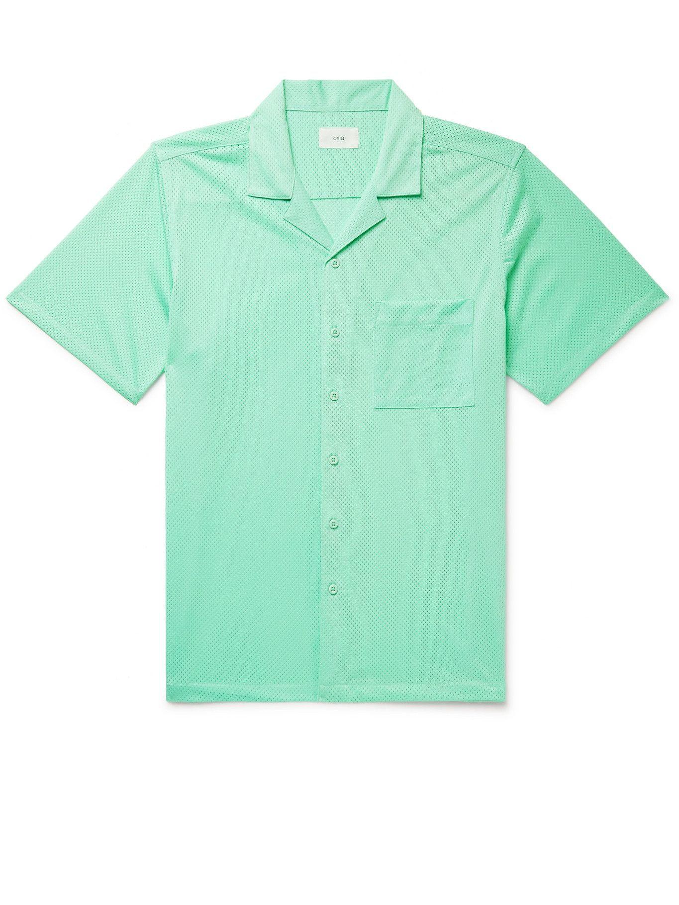 Photo: Onia - Camp-Collar Mesh Shirt - Green