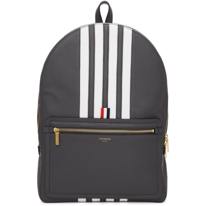 Photo: Thom Browne Grey Structured 4-Bar Stripe Backpack