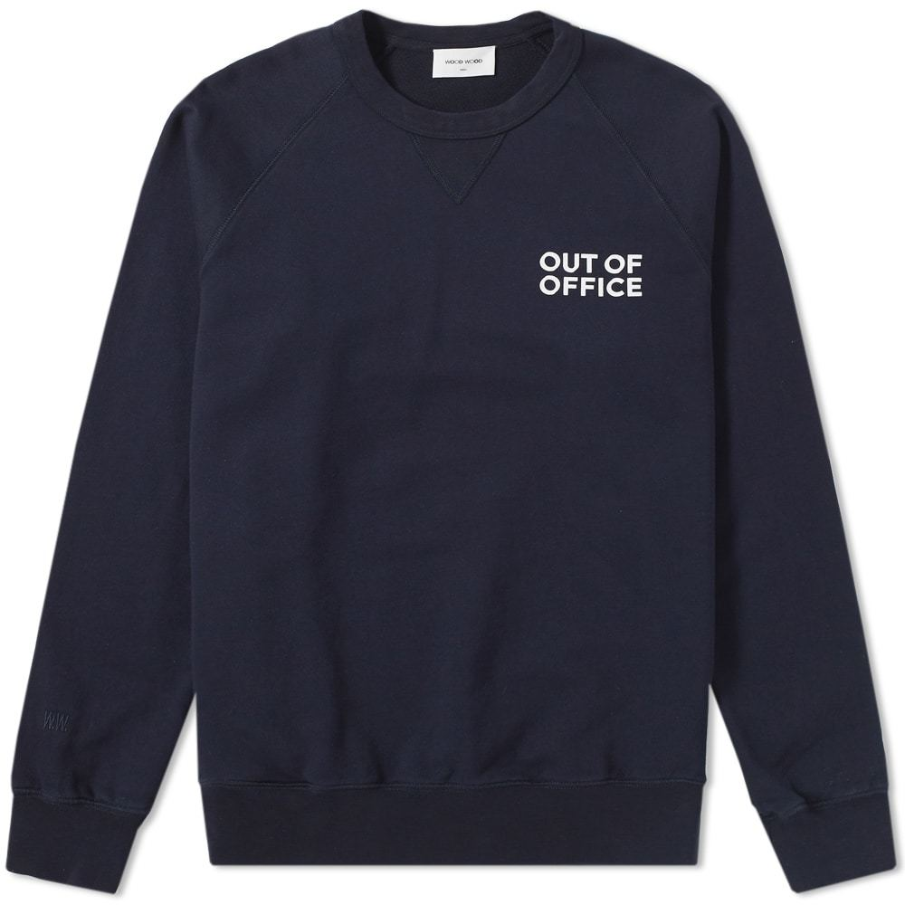 Wood Wood Out of Office Hester Crew Sweat Blue