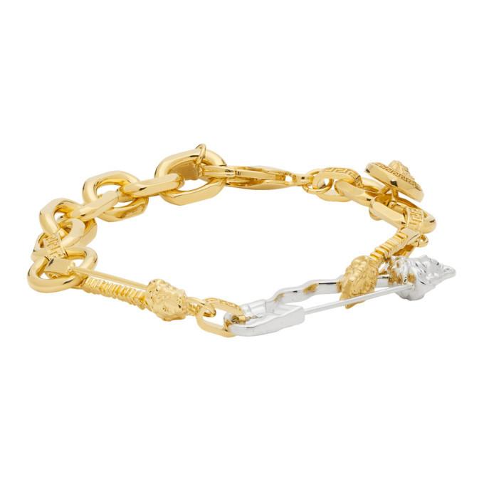 Photo: Versace Gold and Silver Medusa Safety Bracelet