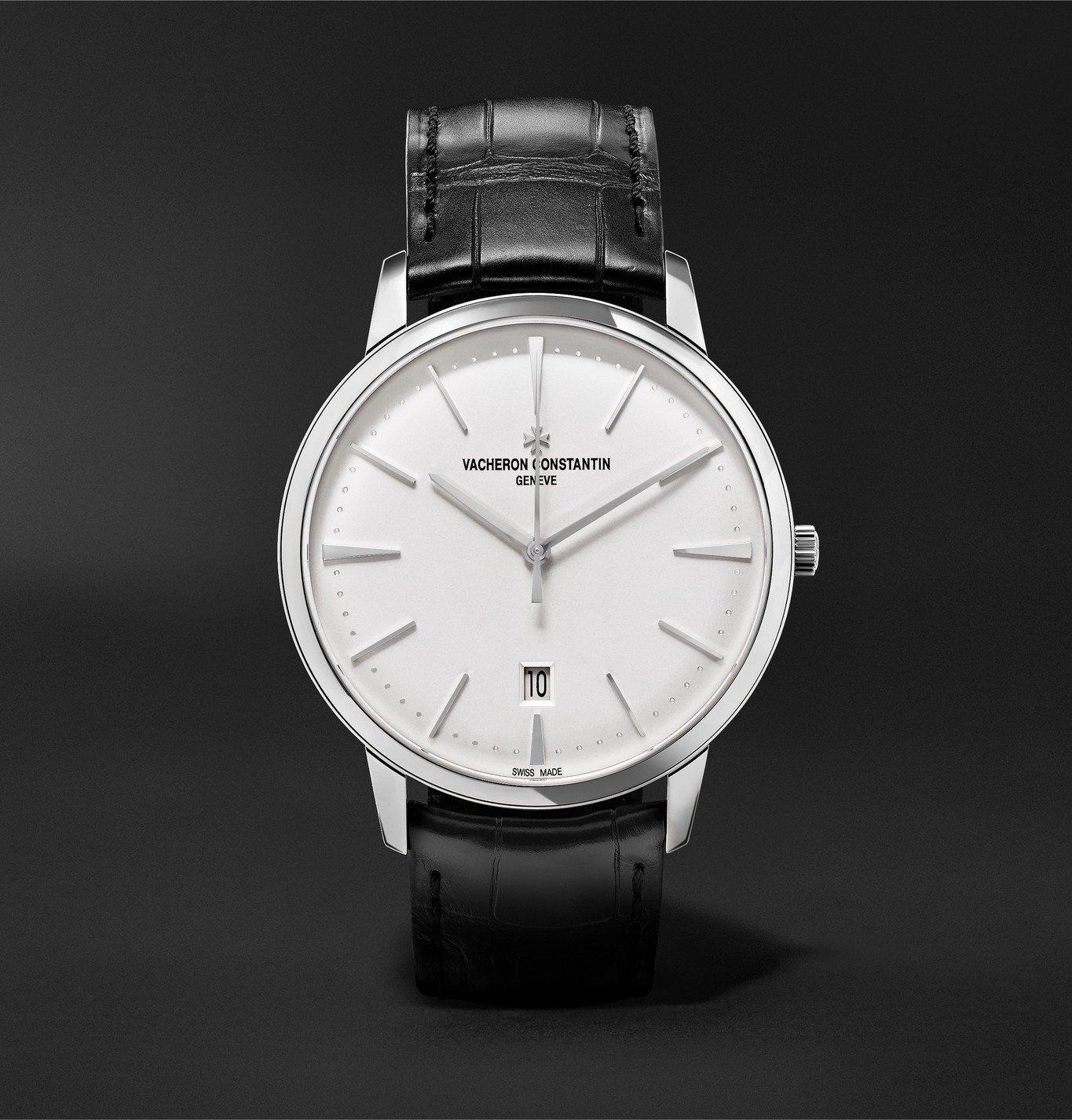 Photo: Vacheron Constantin - Patrimony Automatic 40mm 18-Karat White Gold and Alligator Watch, Ref. No. 85180/000G-9230 - Silver