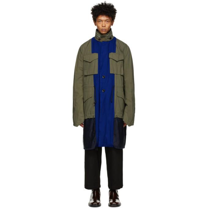 Photo: Sacai Reversible Blue and Green Solid Shrivel Coat