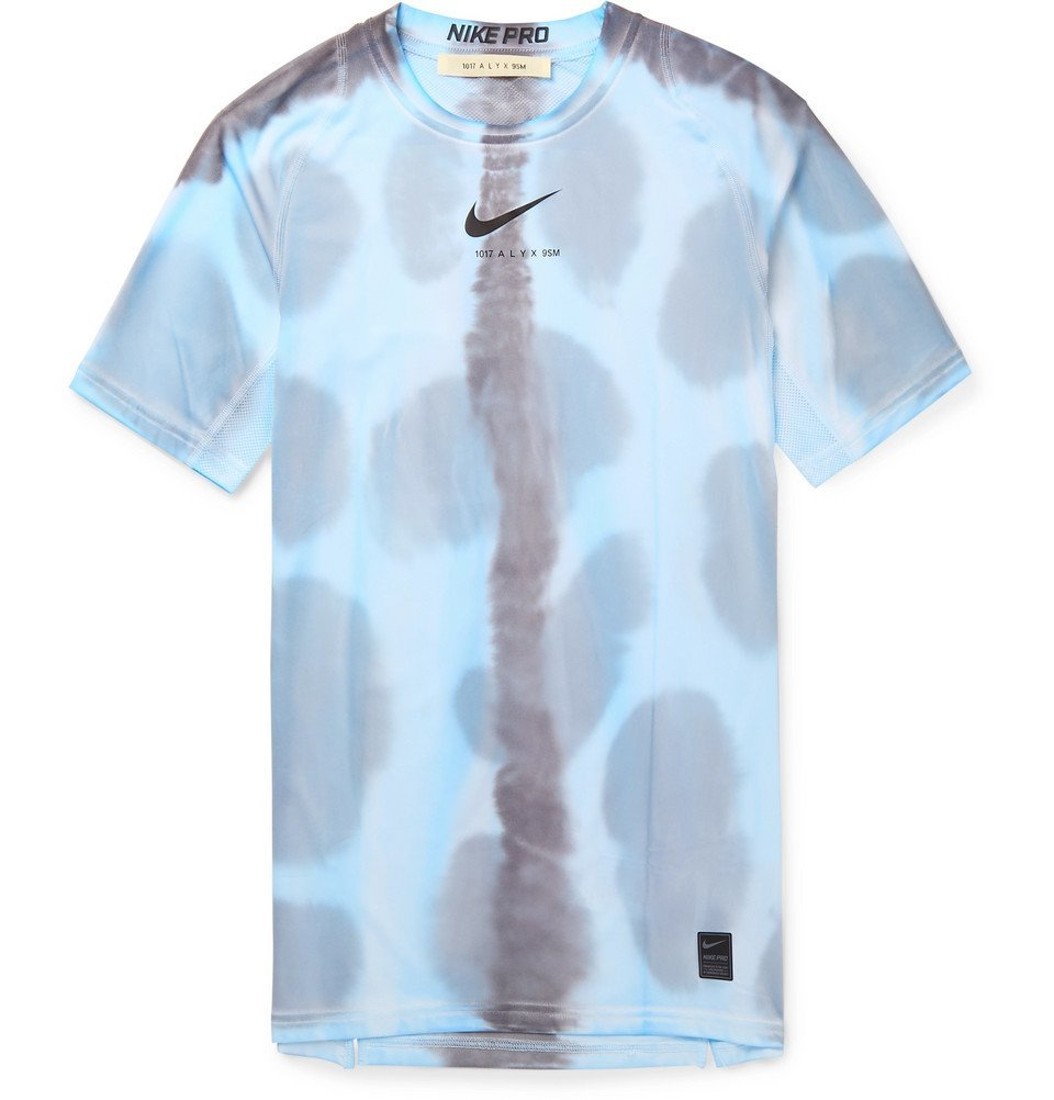Photo: 1017 ALYX 9SM - Nike Pro Mesh-Panelled Printed Stretch-Jersey T-Shirt - Blue