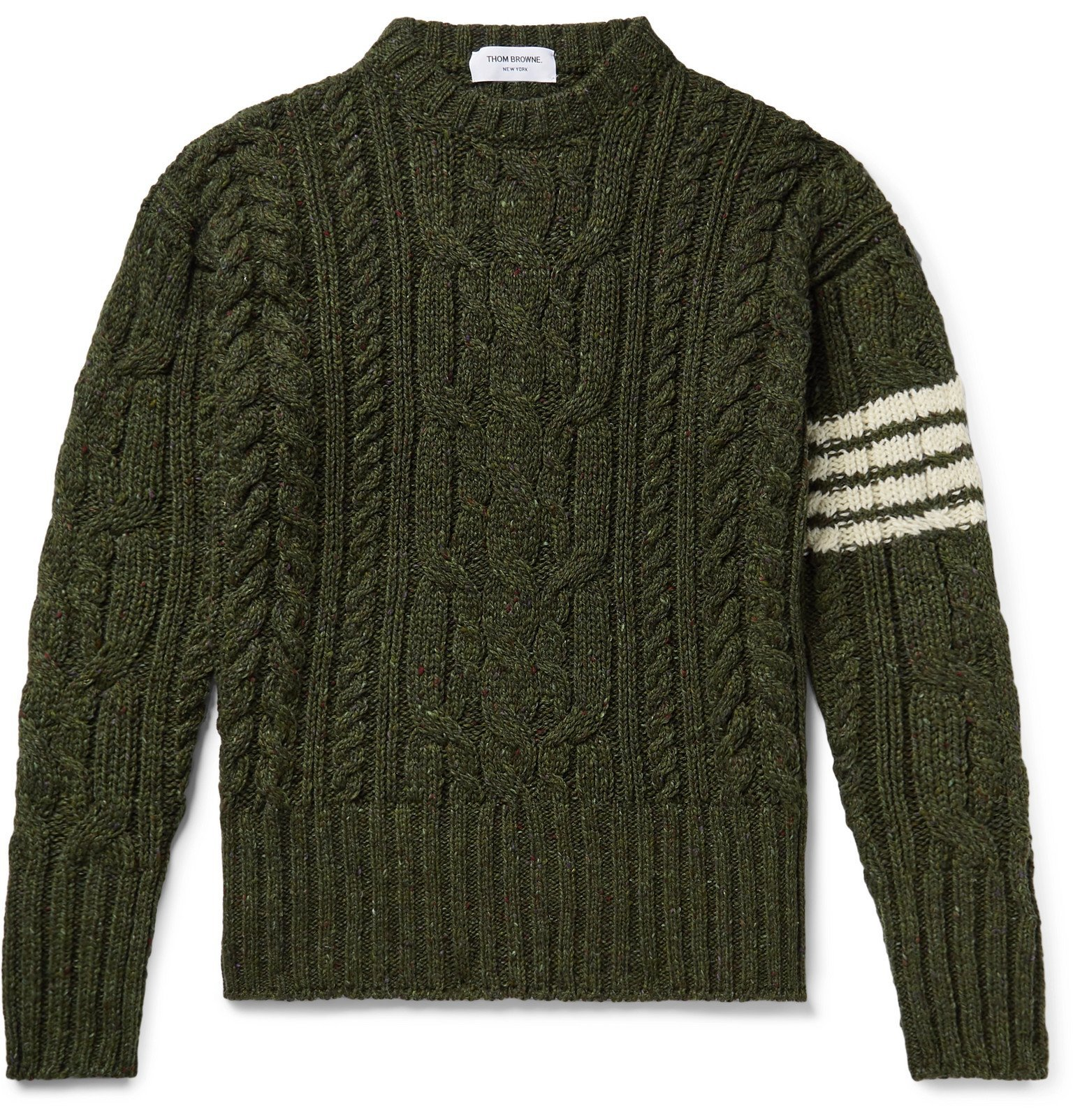Photo: Thom Browne - Slim-Fit Striped Cable-Knit Wool and Mohair-Blend Sweater - Green
