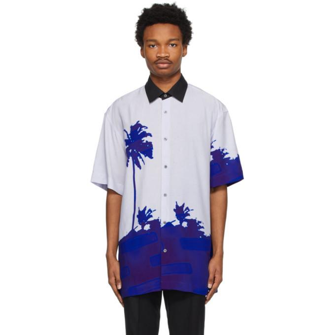 Photo: Dries Van Noten Blue Len Lye Edition Contrast Collar Graphic Short Sleeve Shirt