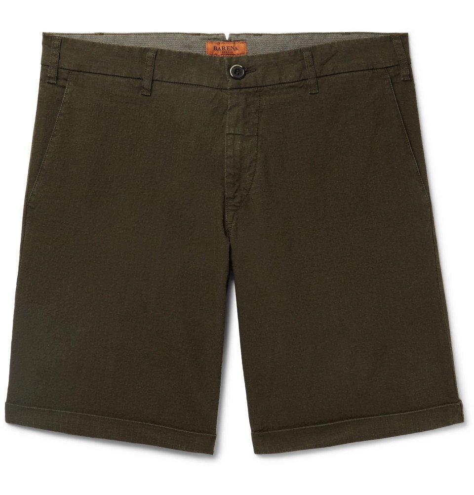Photo: Barena - Stretch-Cotton Ripstop Shorts - Army green