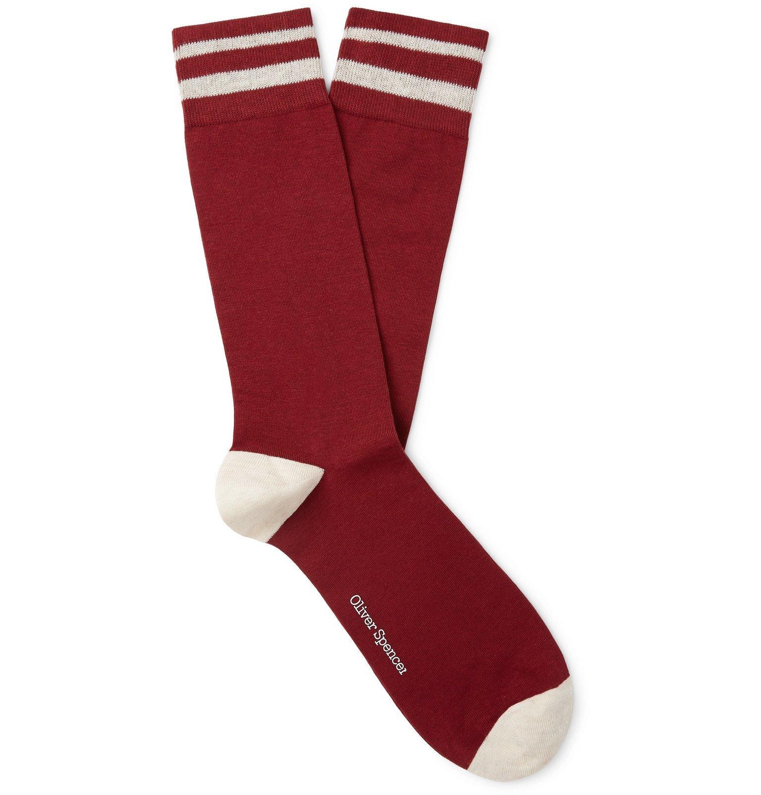 Photo: Oliver Spencer Loungewear - Miller Striped Stretch Cotton-Blend Socks - Red