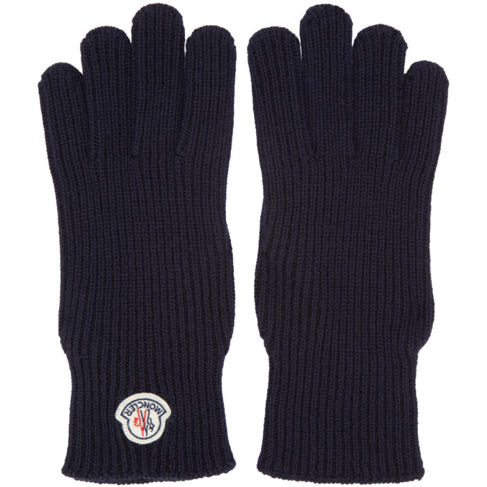Photo: Moncler Navy Wool Gloves