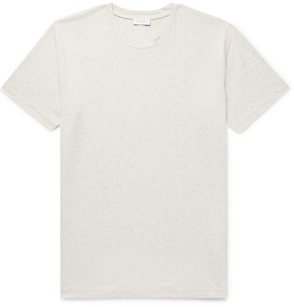 Sunspel - Riviera Mélange Cotton-Jersey T-Shirt - Men - Cream