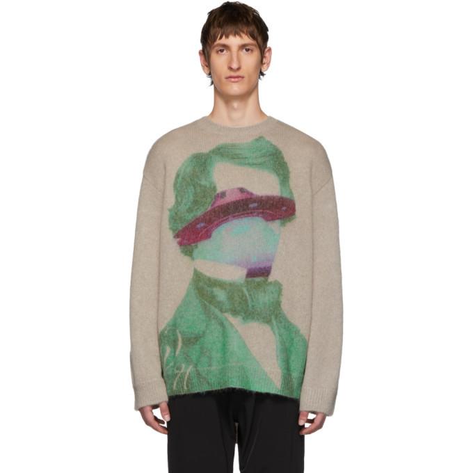 Photo: Valentino Beige Undercover Edition V Face UFO Sweater