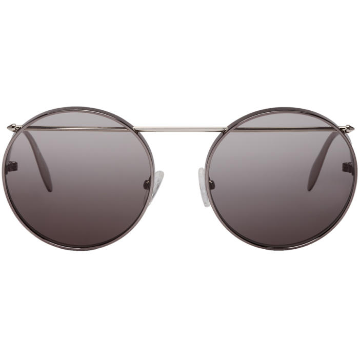 Photo: Alexander McQueen Gunmetal Round Sunglasses