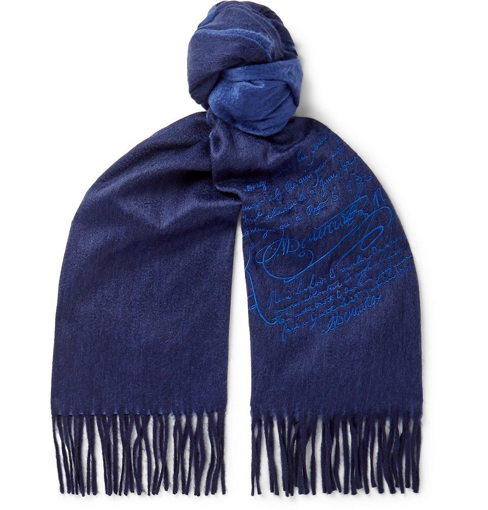 Photo: Berluti - Embroidered Cashmere Scarf - Midnight blue