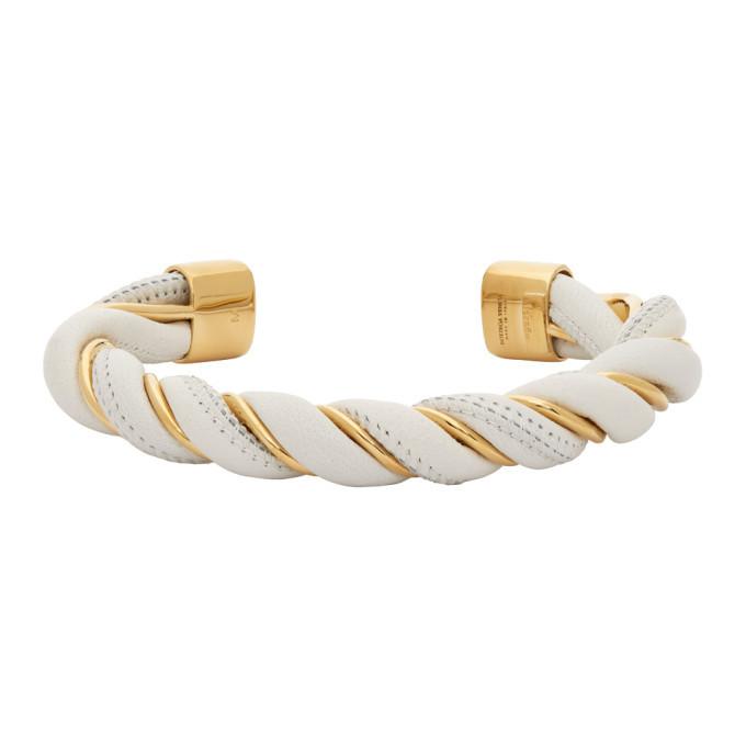 Photo: Bottega Veneta White and Gold Twist Bracelet
