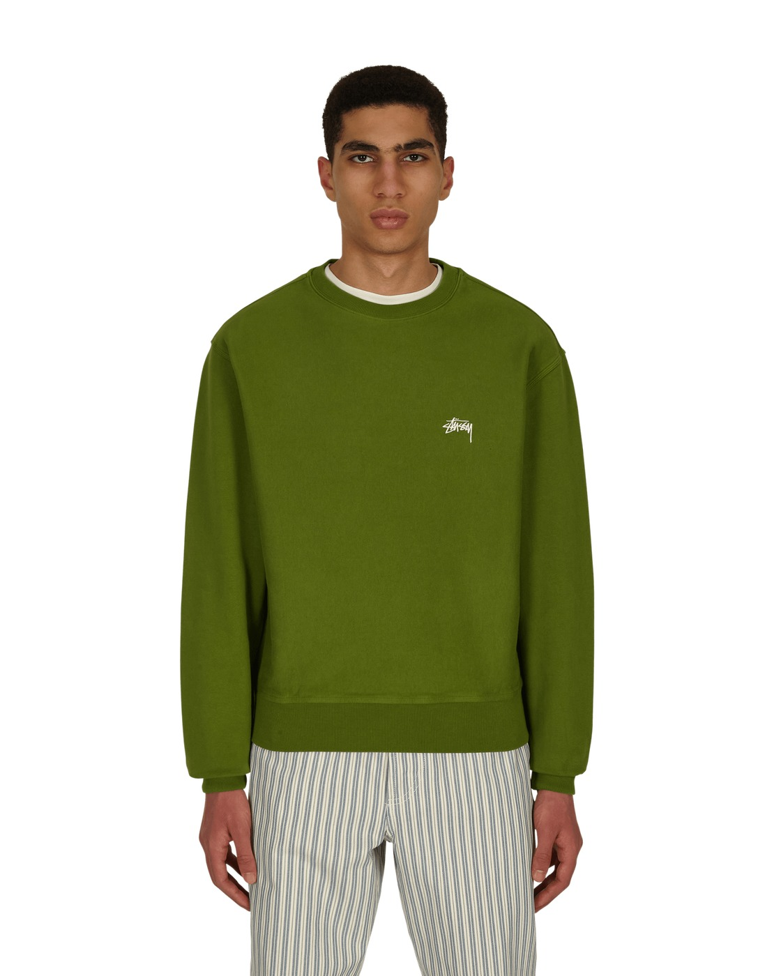 Photo: Stussy Stock Logo Crewneck Sweatshirt Green