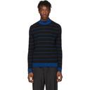 Acne Studios Black and Blue Striped High-Neck Slim Sweater