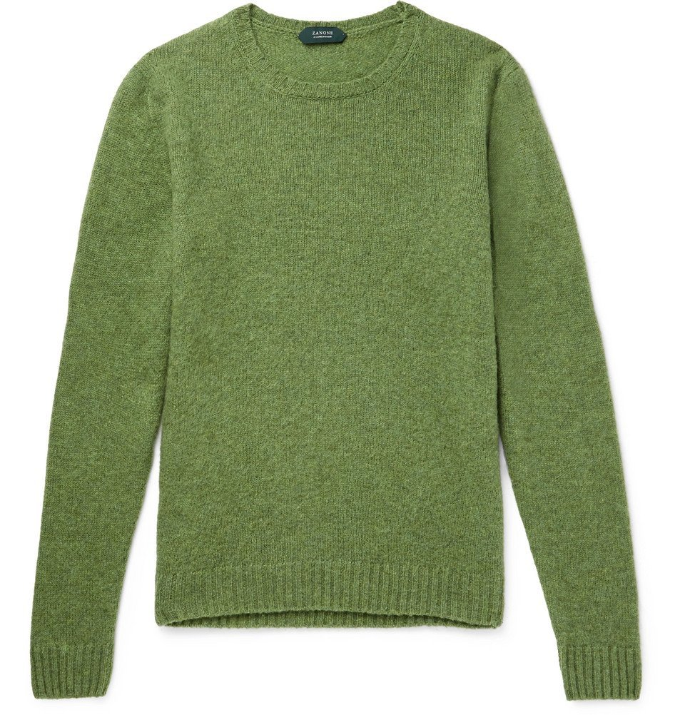 Photo: Incotex - Brushed Virgin Wool Sweater - Men - Green