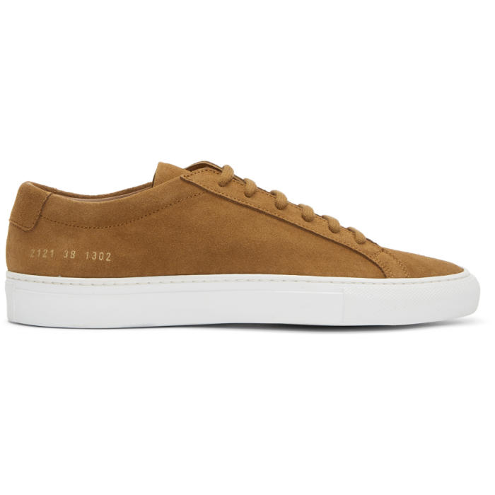 Common Projects Tan and White Suede Original Achilles Low Sneakers