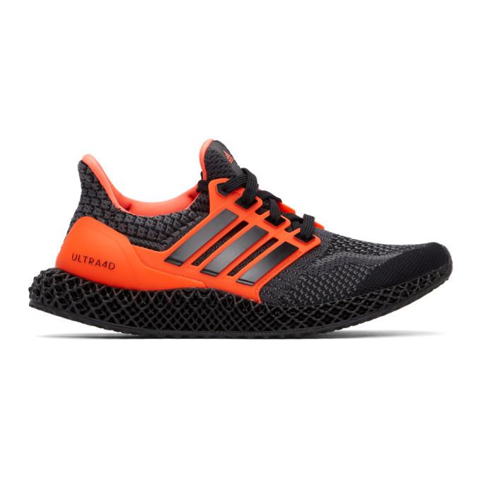 Photo: adidas Originals Black and Orange Ultra 4D 5.0 Sneakers