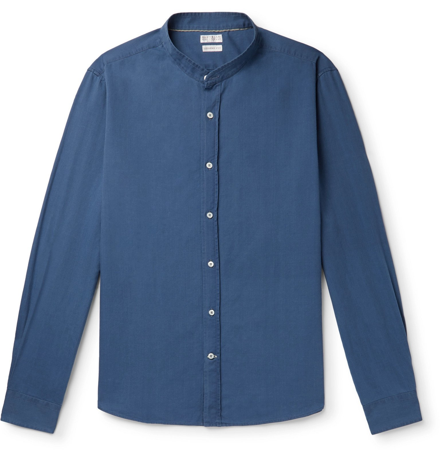 Photo: Brunello Cucinelli - Grandad-Collar Cotton-Chambray Shirt - Blue