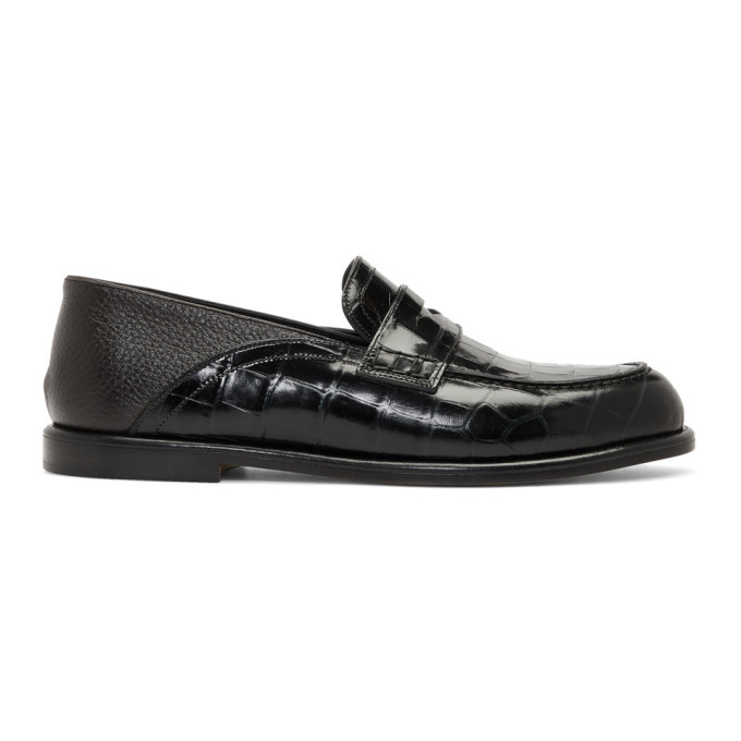 Photo: Loewe Green and Brown Croc Loafers