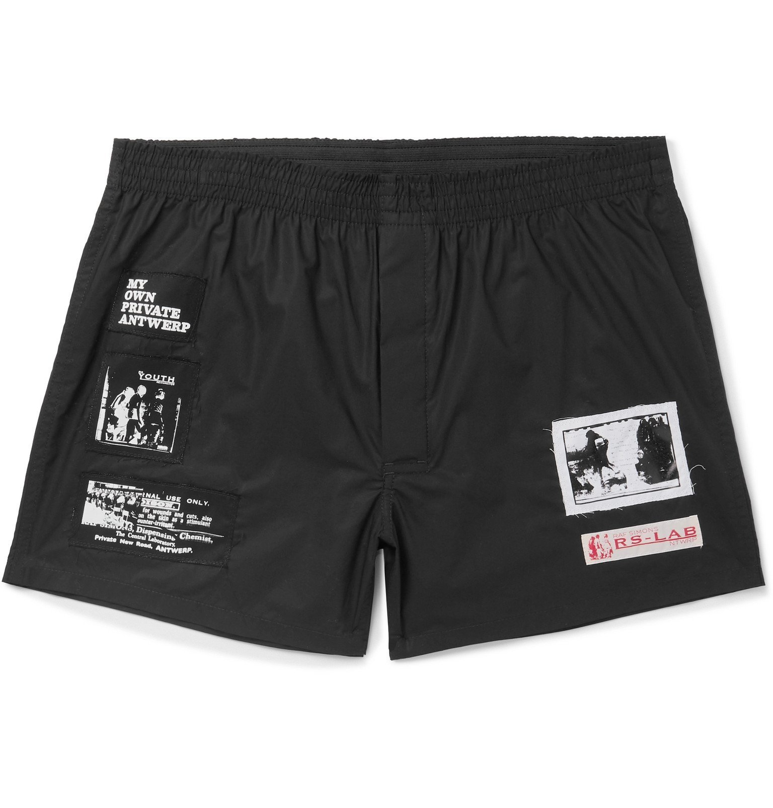 Photo: Raf Simons - Appliquéd Cotton-Twill Shorts - Black