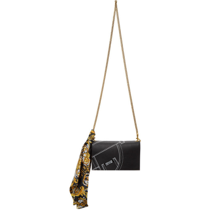 Photo: Versace Jeans Couture Black Faux-Leather Scarf Wallet Bag