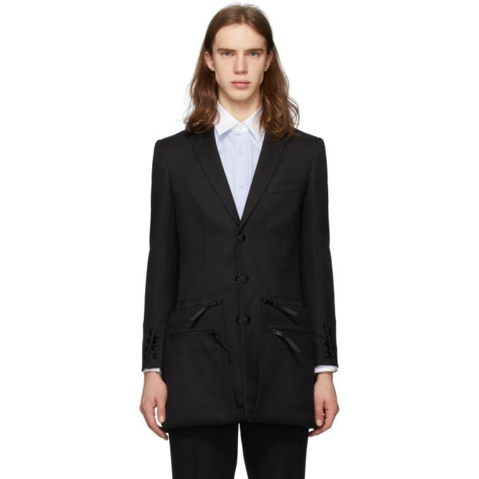 Photo: Burberry Black Twill Slim Fit Zip Panel Blazer