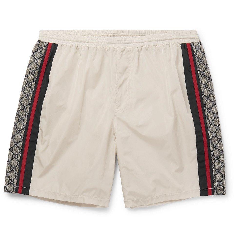 Photo: Gucci - Wide-Leg Long-Length Striped Logo-Print Swim Shorts - Ivory