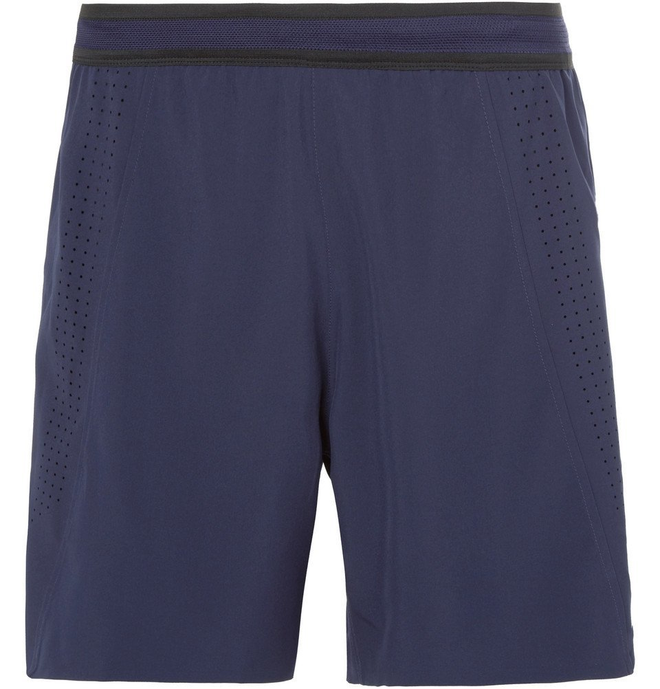 Photo: Soar Running - Three Season Wide-Leg Stretch-Shell Shorts - Navy