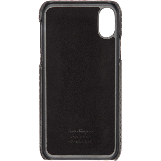 Salvatore Ferragamo Black Mini Gianco iPhone X Case
