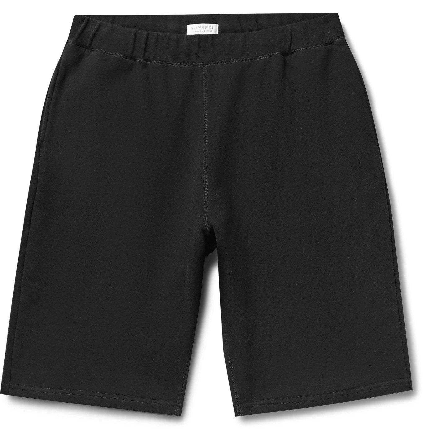 Sunspel - Loopback Cotton-Jersey Shorts - Black