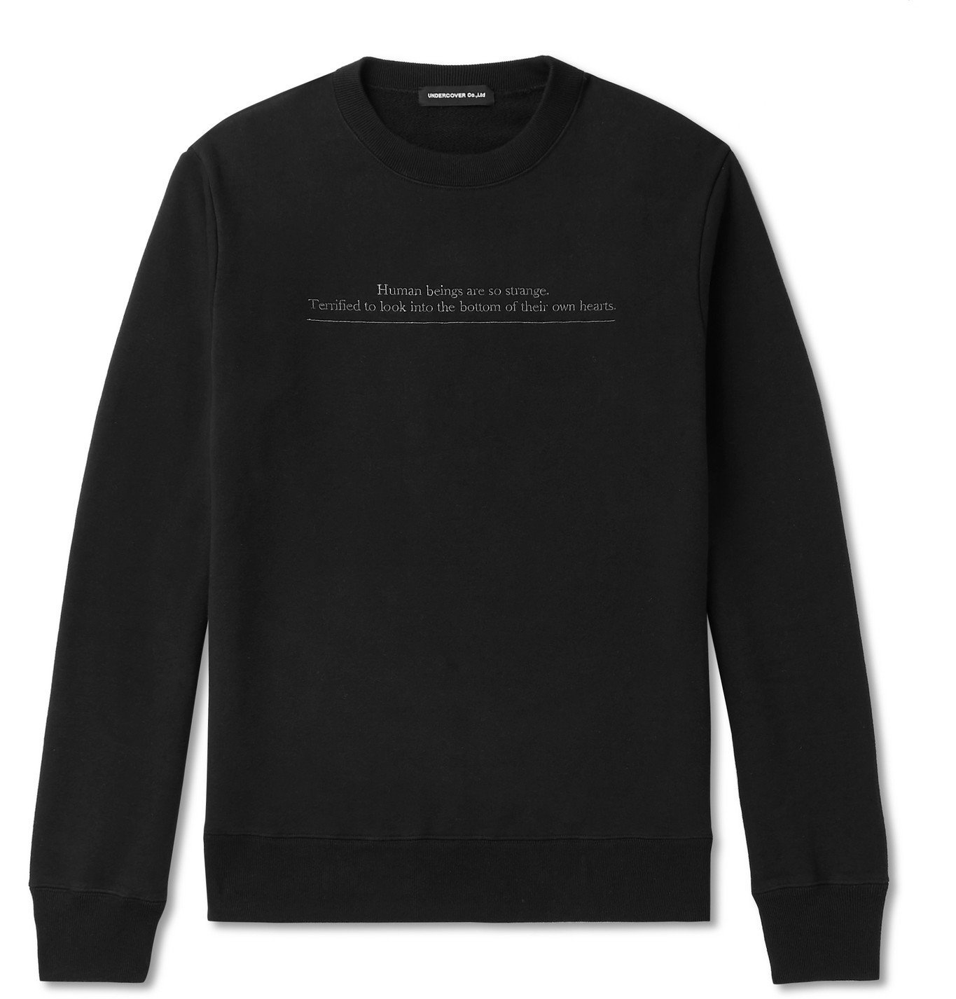 Photo: Undercover - Embroidered Loopback Cotton-Jersey Sweatshirt - Black
