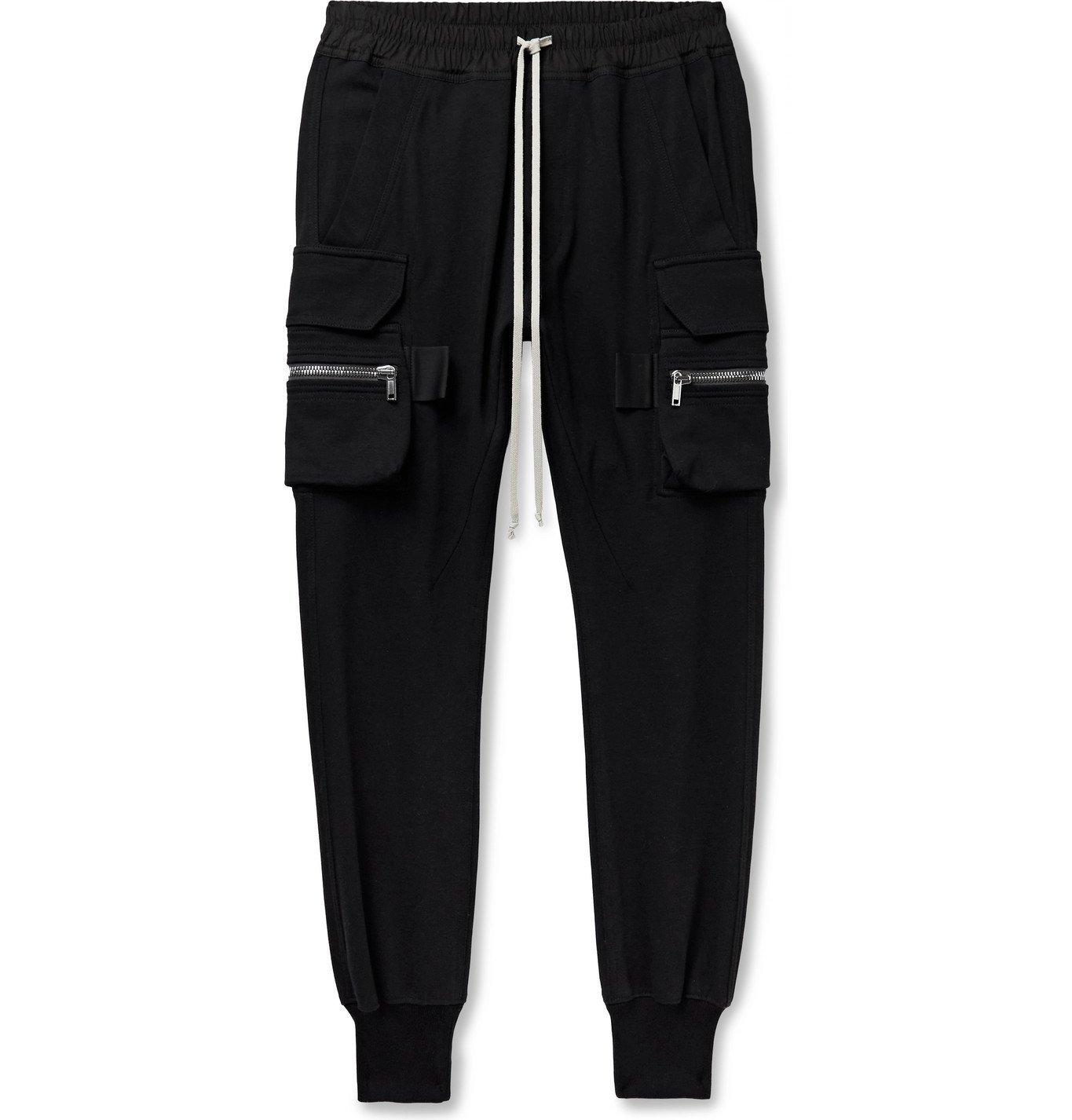 Photo: RICK OWENS - Mastodon Slim-Fit Tapered Organic Cotton-Jersey Sweatpants - Black