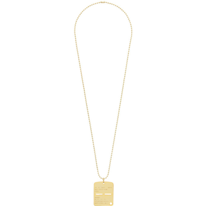 Photo: 1017 ALYX 9SM Gold Military Tag Necklace
